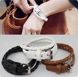 Pulseiras de couro estilo coreano Twist Wrap Belt Bracelet Novo C1221
