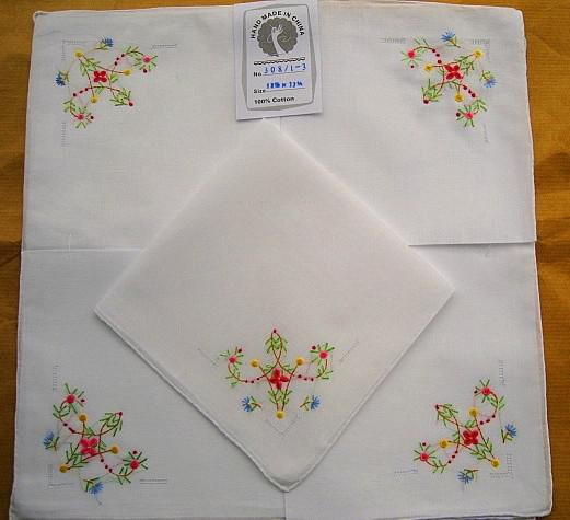 Simple white hand embroidered handkerchief thick cotton
