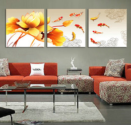 Wholesale Interior Wall Paintings Pictures - Koi Fish Oil Painting on Canvas Framed 3 Panel Huge Wall Art Chinese Style Feng Shui Interior Decoration XD00173