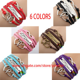 Wholesale I Love One Direction - 6 colors handmade black I love One Direction 1D infinity charm bracelets and bangles jewelry gift items for women and men hy1018