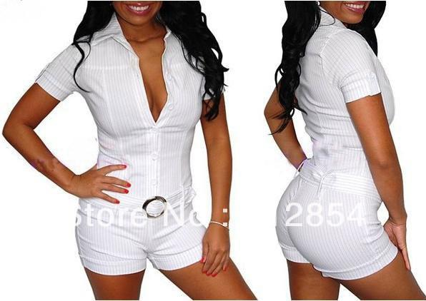 Dresses Sexy White Rompers Womens Jumpsuit Bodysuit Shorts Woman