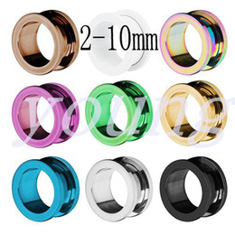 Wholesale Ss Piercing Plugs - Hot sale 2015 new fashion Free shipping 6 color stainless steel ear tunnels and plugs ear gauges stretchers piercing jewelry 2-10mm SS-1007