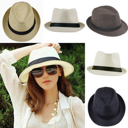 Wholesale Men Straw Fedora Hats - Cool Unisex Straw Hat Outdoor Soft Panama Caps Summer Stingy Brim Fedora Beach Sun Hats Colors Choose ZDS*1