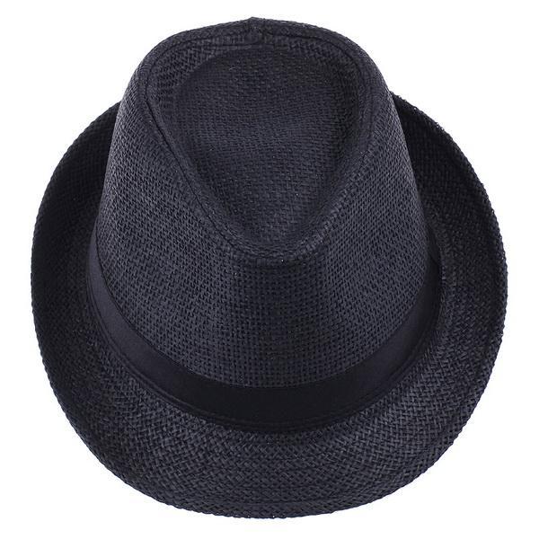 Vogue männer frauen stroh fedora hut schwarz mode einfach geschmeidig sommer strand casual hut zds2 * 1