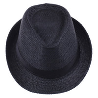 Wholesale Simple Straw Hats - Vogue Men Women Straw Fedora Hat Black Fashion Simple Lithe Summer Beach Casual Hat ZDS2*1