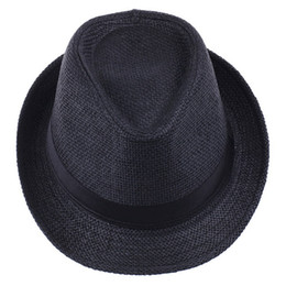 Wholesale braid fedora - Vogue Men Women Straw Fedora Hat Black Fashion Simple Lithe Summer Beach Casual Hat ZDS2*1