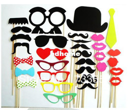 Wholesale Fun Favor - Promotional!New Year Sale!Free Shipping 32pcs set Funny Photo Booth Props Hat Mustache On A Stick Birthday Party fun favor