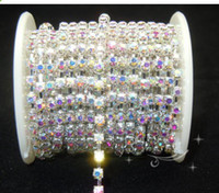 Wholesale Ss6 Rhinestone Cup Chain - SS6 SS8 SS10 SS12 SS16 SS18 Clear AB Rhinestone Cup Chains Silver Plated 10 yards Cake Dec