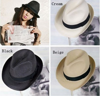 Wholesale Braid Fedora - New Trendy Unisex Fedora Hat Trilby Gangster Cap Summer Beach Sun Straw Panama Hat ZDS