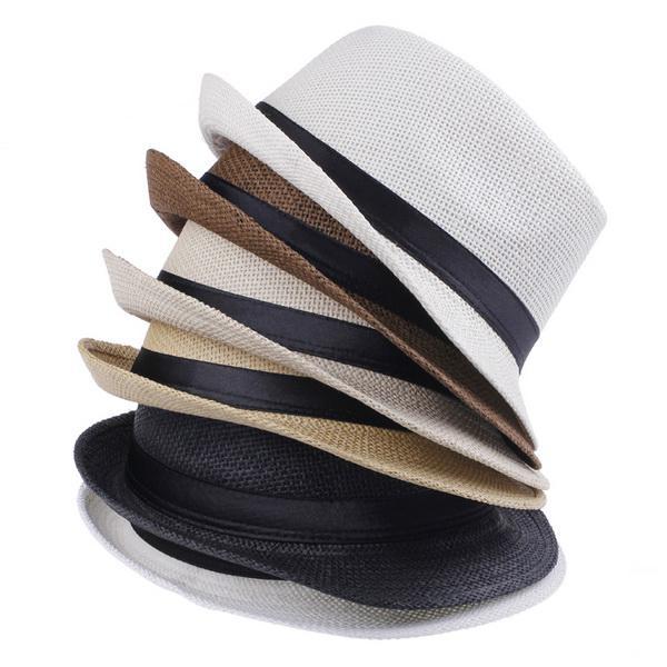 レトロユニセックス麦わら帽子カウボーイスティンディブリム帽子パナマFedora Caps Beach Sun Hats色ZDSを選択* 1