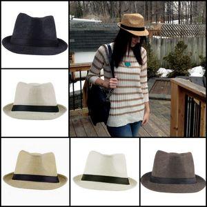 Retro Unisex Straw Hats Cowboy Stingy Brim Hats Panama Fedora Caps Beach Sun Hats Colors Choose ZDS*1