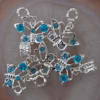 Wholesale Teal European Bead - 20Pcs Teal Blue Crystal Rhinestone Butterfly Big Hole European Dangle Beads Fit Charm Bracelet chain Jewelry Fittings 23x16x4