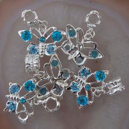 Wholesale butterfly rhinestone bracelet crystal - 20Pcs Teal Blue Crystal Rhinestone Butterfly Big Hole European Dangle Beads Fit Charm Bracelet chain Jewelry Fittings 23x16x4