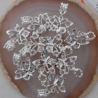 Wholesale European Butterfly Dangles - 20Pcs Clear Crystal Butterfly Big Hole European Dangle Beads Fit Charm Bracelet chain Jewelry Fittings 23x16x4