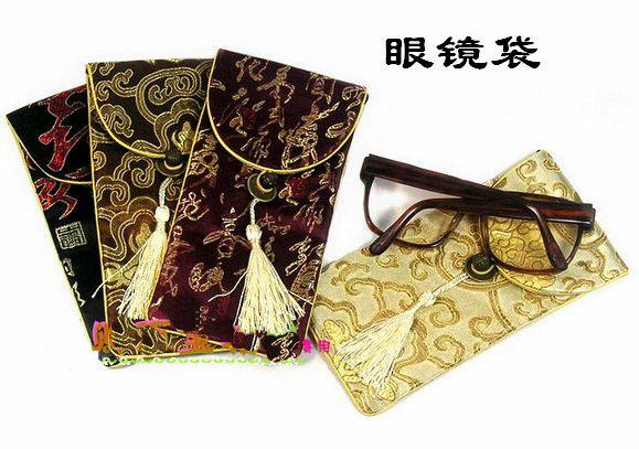 Дешевые флип топ очки Чехлы для очков чехлы для очков мягкие очки мешок фарфора шелковой ткани кисточкой очки сумки 10 шт. / лот смешать цвет