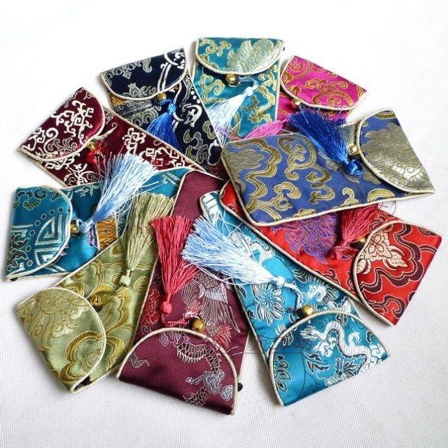 Clamshell Tassel Floral Cloth Okulary Torba Z Liny Do Przechowywania Silk Satin Jewelry Case Prezent Pakowanie Pocket 10 sztuk / partia