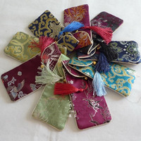 Wholesale Cheap Bags Wholesale China - Cheap Flip top Eyeglass Pouches Spectacle Cases Soft Glasses Pouch China Silk Fabric Tassel Glasses Bags 10pcs lot mix color