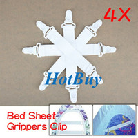 Wholesale Sheet Grippers Fasteners Clips - 4x Bed Sheet Grippers Holder Clip Fasteners Elastic Set #1554