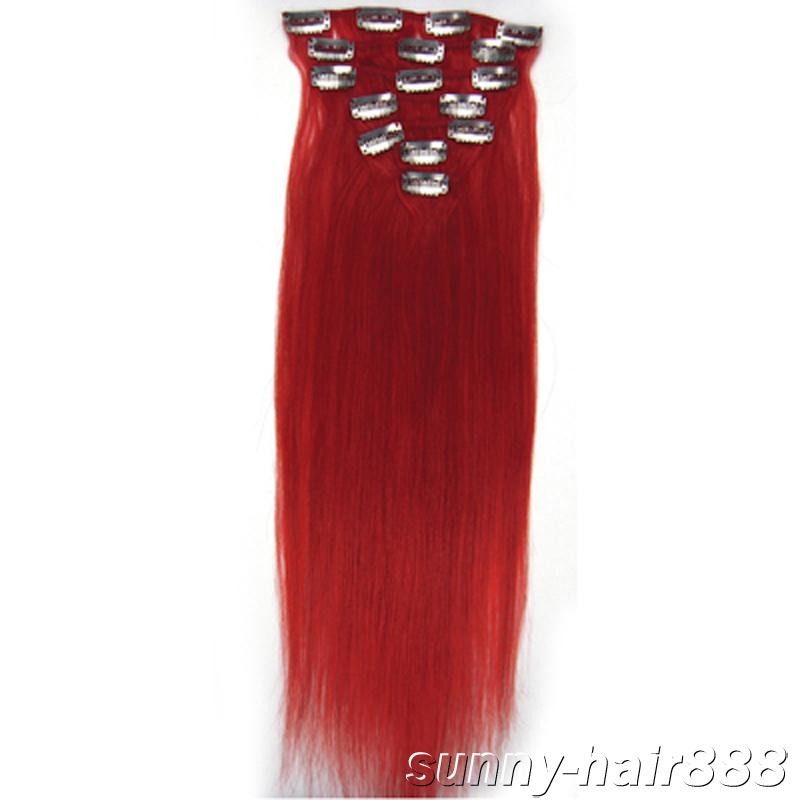 20 Set Clip In Hair Remy Human Hair Extensions Red Clips Hair