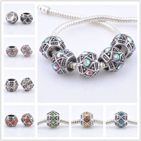 Wholesale European Rhinestone Drum - 100pcs lot Drum Crystal Rhinestone Charm Spacer beads European Big Hole Beads Fit Bracelet Chain Jewelry Findings