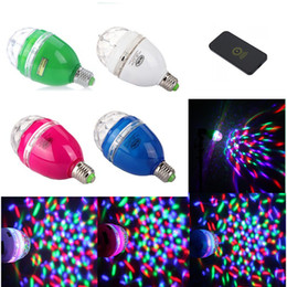Wholesale New Globe Lamp E27 - New LED Stage Light Bulb LED RGB Lights Rotating Lamp with Remote Sound-activated Stage DJ Light Bulb 3W E27 85-260V (Blue Rose Green White)