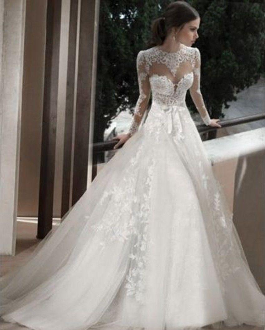 Discount 2015 Berta Long Sleeve Sheer Lace Wedding Dresses Applique A Line  High Neck Sweep Train Backless Bridal Gowns White Wedding Dresses A Line  Dresses ...