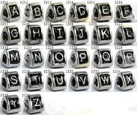 ilk boncuk takılar toptan satış-100pcs / lot Alfabe Harfleri Gümüş Avrupa Boncuk takımı Kolye Bilezik Zinciri Karakterler A, Z Alfabe Boncuk Çekicilik Takı Bulguları