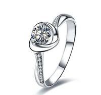 weißgold herz ring diamanten großhandel-Herz-Blumen-romantische Erklärung 1 CT SONA synthetischer Diamant-Ring für Frauen 925 Verlobungs-18K weißes Gold überzogene feine Schmucksachen