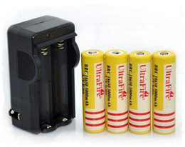 Wholesale solar charger batteries - 4XUltra Fire 18650 3.7V 5000mAH Lithium Rechargeable Battery Yellow,UltraFire BRC 18650 Li-Ion batteries With charger