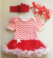 tenues d'impression zébrée achat en gros de-EMS Summer Baby Girls Chevron Grille Dots Zebra Imprimé Headbands + Romper + Shoes 3 pcs Outfits Kids One Piece Pompon Rompers Vêtements B3025