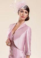 Wholesale Taffeta Sheath Dress - V-neck Free Shipping Modern Half Sleeve Knee-length With Jacket Classic Taffeta Appliques Pink Mother Of The Bride Dresses