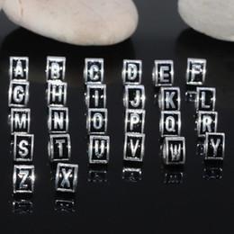 Wholesale Alphabet Spacer Beads - 260pcs lot Tibetan Silver European Letter Triangle Alphabet Beads Charms , 26 Alphabets Loose Spacer Beads For European Bracelet Neckclace