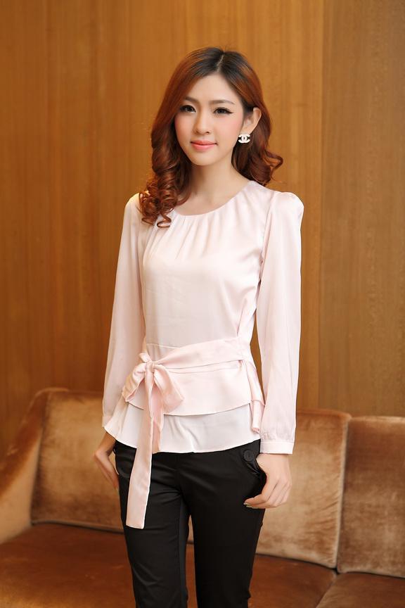 Mode rosa vita blusar damer blusar långärmad sommar tunn slank chiffong långärmad damblus av kontoret damer