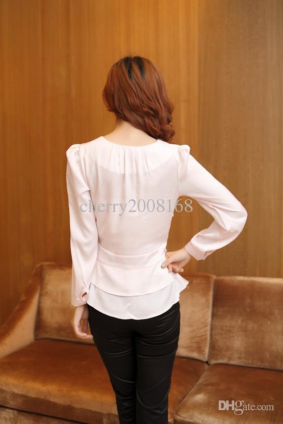 Moda Pembe Beyaz Bluzlar Bayanlar Bluzlar Uzun kollu Yaz Ofis Of İnce İnce Şifon uzun kollu bayanlar bluz Bayanlar