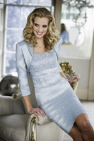 Wholesale Light Caps Tires - 2015 Free Shipping 3 4 Sleeve Knee-length With Jacket Modern Tired Satin Embroidery Short Blue Mother Of The Bride Dresses
