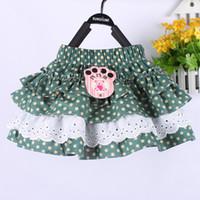 Discount ruffles cakes - 3Colors Girls Cotton blend skirt Polka Dot Ruffle Dot skirt Lace Tutu skirts baby girl's Skirt Cake skirt