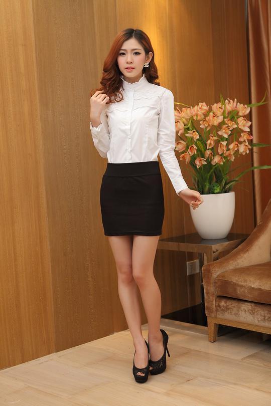Hot sälja vår sommar höst koreansk stil damer skinny spets blus av vit blusar avslappnad bomullsblus