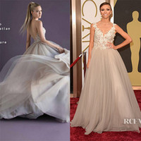 Wholesale Cannes Royal Blue - 2014 Sexy Giuliana Rancic in Oscars Red Carpet Dresses V-Neck Backless Applique Tulle Paolo Sebastian Sheer Evening Gowns Prom Formal Dress