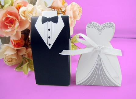 NEW Wedding candy box Bride Groom Wedding Bridal Favor Gift Boxes 50 pairs 100 pcs Gown Tuxedo TH1