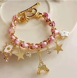 Wholesale Flower Poker - Leather Bracelet Gold Star Crystal Eiffel Tower Poker Flower Bangle Cuff Bracelet Women Charm Bracelet JD2