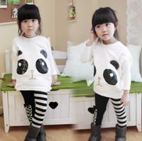 Wholesale Panda Costumes For Girls - Girls Clothing Sets 2pcs  set Costume for Kids Panda Batwing Sleeve Pullover Coat +Striped Pants Leggings