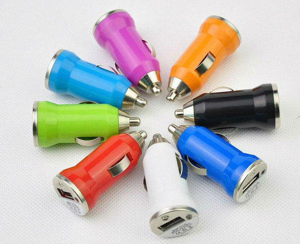 top popular Bullet Car Chargers Mini Colorful 5V 1A USB Car Charger Universal Adapters For Cell Phone iPhone Samsung Mobile Phone 2021