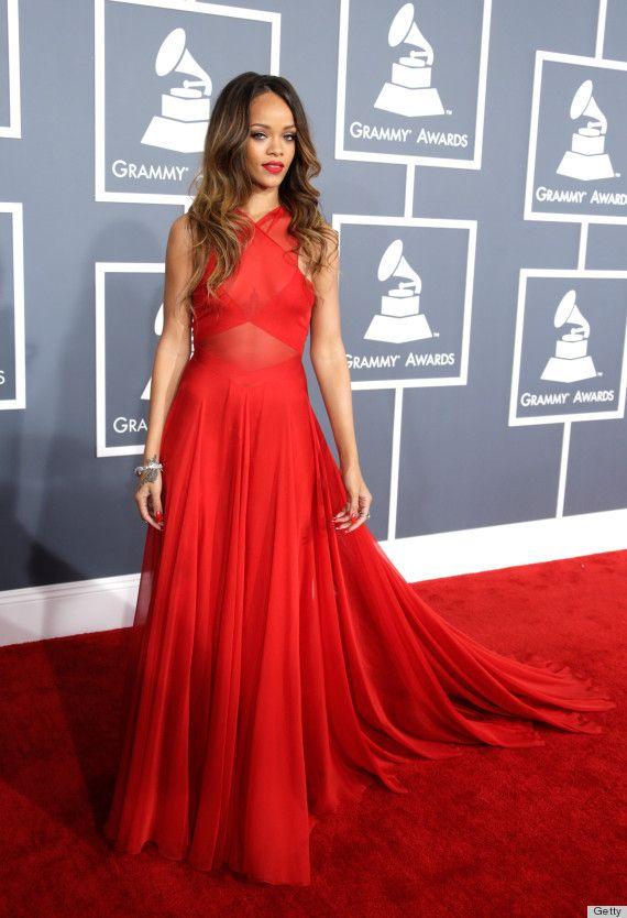 55th Grammy Awards Rihanna Dresses Red Carpet Celebrity ...