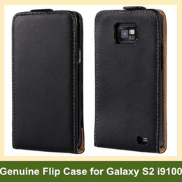 Wholesale Cover Case Sii - Wholesale Fashion Genuine Leather Flip Cover Case for Samsung Galaxy SII S2 i9100 with Magnetic Snap Free Shipping
