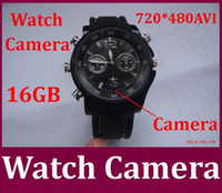 Wholesale Dhl Spy Camera - Built-in16GB Waterproof Spy Watch Camera Watch Video Recorder Hidden Camera DVR in stock 10pcs lot Free DHL