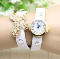 Wholesale Vintage Diamond Watches - 2014 fashion retro watch butterfly diamond stone crystal fashion leather Vintage bracelet women and girls ladies