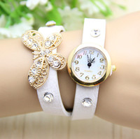 reloj pulsera vintage chicas de cuero al por mayor-2014 moda retro reloj mariposa diamante piedra cristalina moda cuero pulsera Vintage mujeres y niñas damas