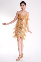 polverschleiß großhandel-New Adult Night Latin Dance Kleid Sexy Pole Dance Kostüme Fransen Pailletten Bühne Tragen Latin Show Kleidung A0158
