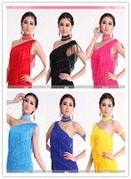 Wholesale Diamond Dancewear - HOT New Latin Dance Dress Oblique Bright Diamond Latin Dancewear Competition Show Skirts Full Set A0159