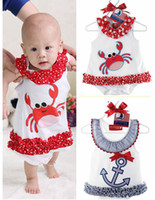 Wholesale Red Lace Rompers Free Shipping - Free shipping 4pcs lot New Summer Anchor sailor & crab baby romper baby Bodysuit infant animal lace print dress rompers 0-3T,Melee